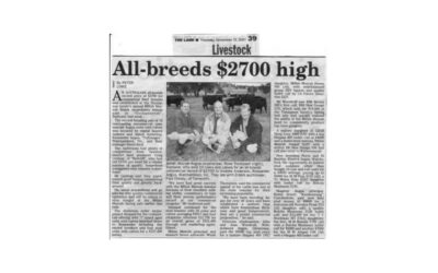 2001 Cow Sale Report